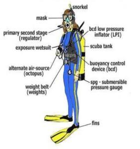 Peralatan selam dan bagian tubuh